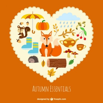 Autumn essentials inside a  heart