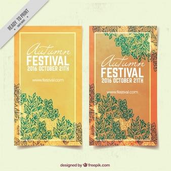 Autumn festival brochures of decorative leaves