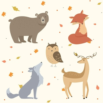 Autumn forest animals