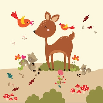Autumn forest in vector set with cute forest animals