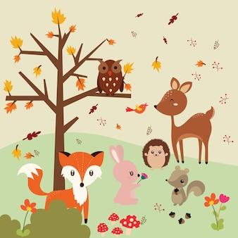 Осенний лес в векторном наборе с милыми лесными животными