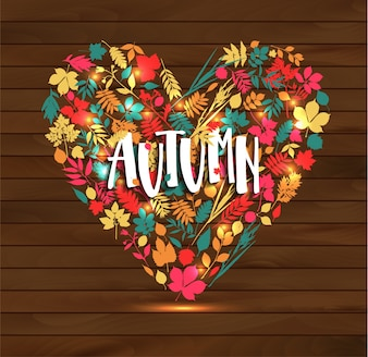 Autumn illustration of heart