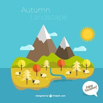 Autumn island landscape