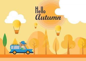 Autumn landscape illustration vector