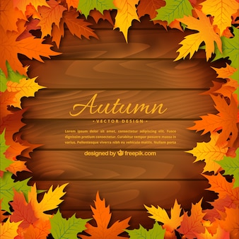 Autumn leaves on wooden background