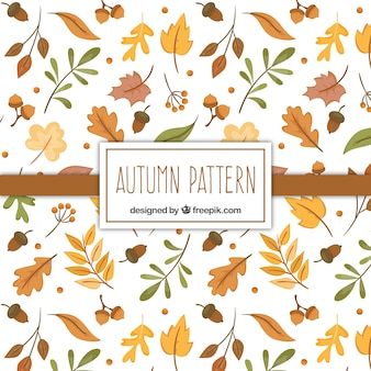 Autumn pattern with hand drawn dry leaves