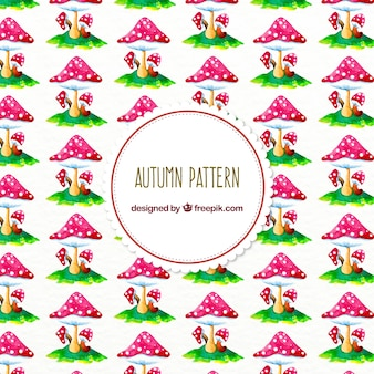 Autumn pattern with watercolor mushrooms