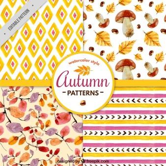 Autumn patterns in watercolor style