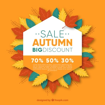 Autumn sale background with hexagon and leaves