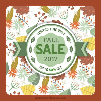 Autumn sale background with leaves and badge