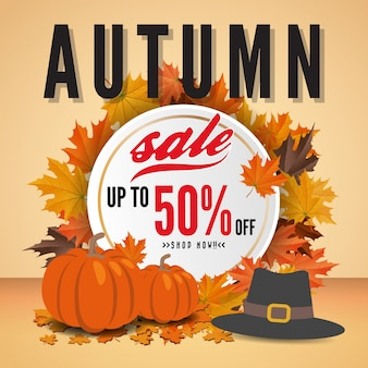 Autumn sale banner background template design