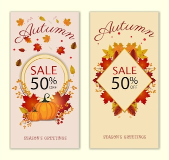 Autumn Sale Banner Collection. Vector illustration