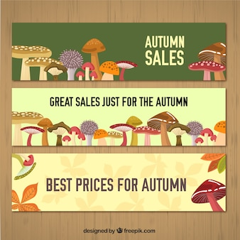 Autumn sale banners with mushrooms