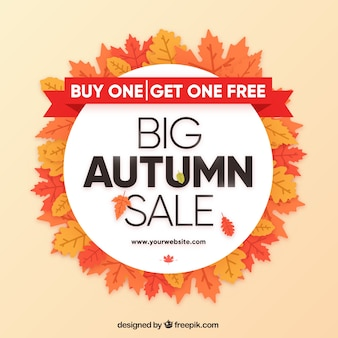 Autumn sale composition with circular style