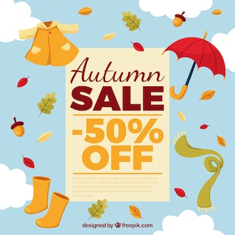 Autumn sale with clothes in the sky