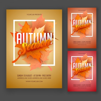 Autumn Season Flyer or Poster Design with Beautiful Flyer Leaf.