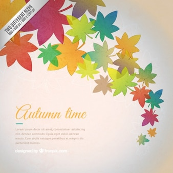 Autumn time background with colorful leaves