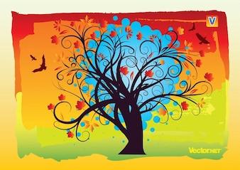 Autumn Tree Swirl Design Vector