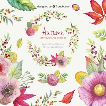 秋の水彩画のイラスト