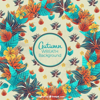 Autumnal background with blue details