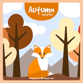 Autumnal background with flat fox and trees