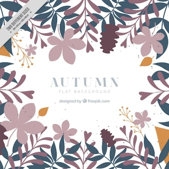 Autumnal background with foliage in flat style