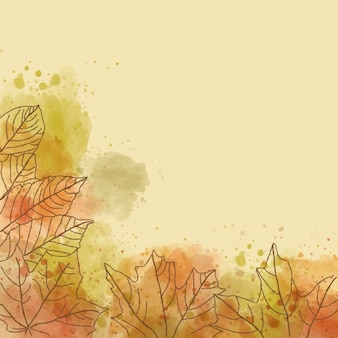 Autumnal background with watercolors and leaf outline