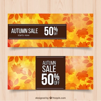 Autumnal banners with discounts