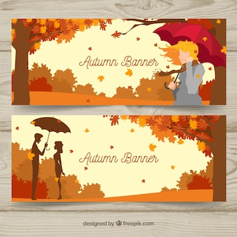 Autumnal banners with flat characters