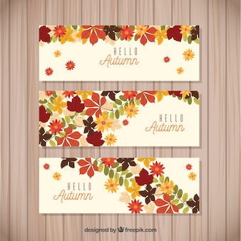 Autumnal banners with floral style