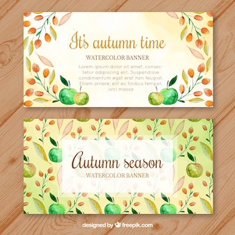 Autumnal banners with watercolor leaves and apples