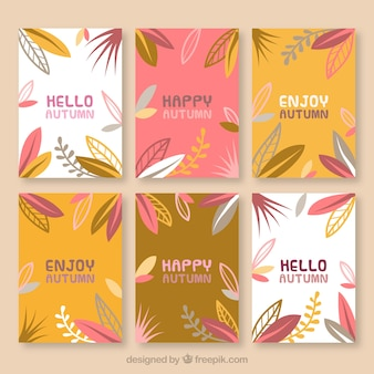 Autumnal collection of cards with leaves