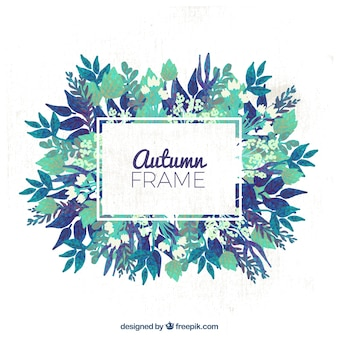 Autumnal frame with blue flowers