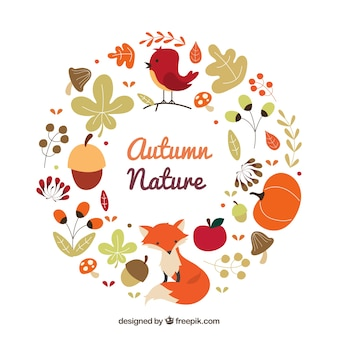Autumnal nature wreath with animals
