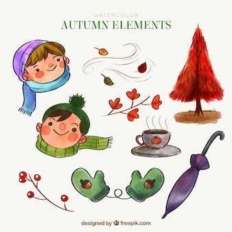 Autumnal pack of watercolor elements