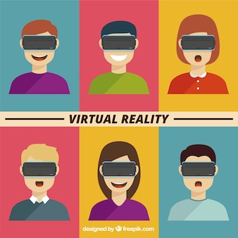 Avatars collection with virtual reality glasses