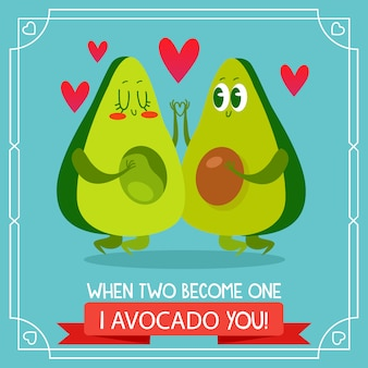 Avocado background with love quote