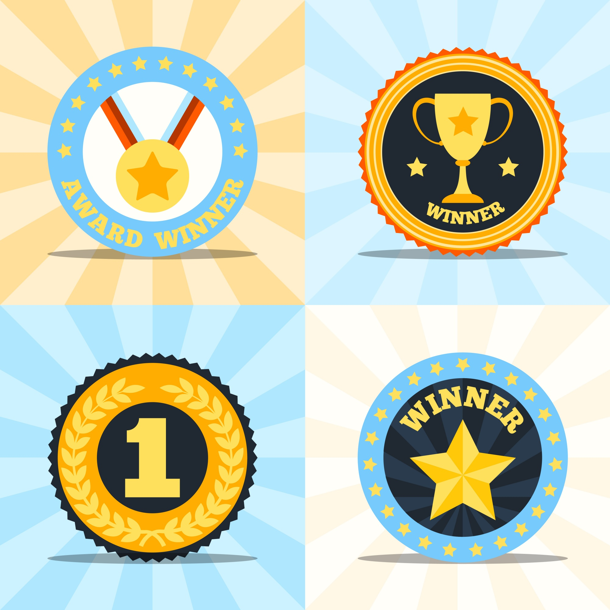 Award winner flat labels set of medal cup laurel wreath star isolated vector illustration