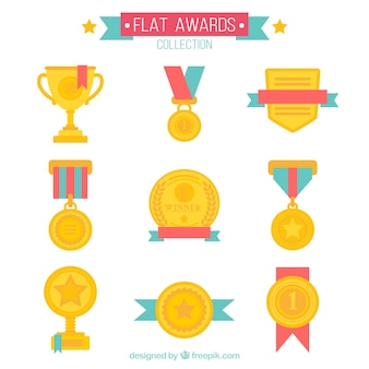 Awards collection in flat design