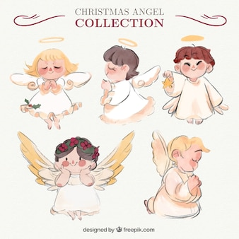Awesome angels collection in watercolor style