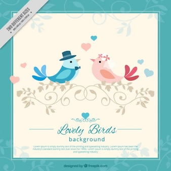 Awesome background of birds in love and blue frame