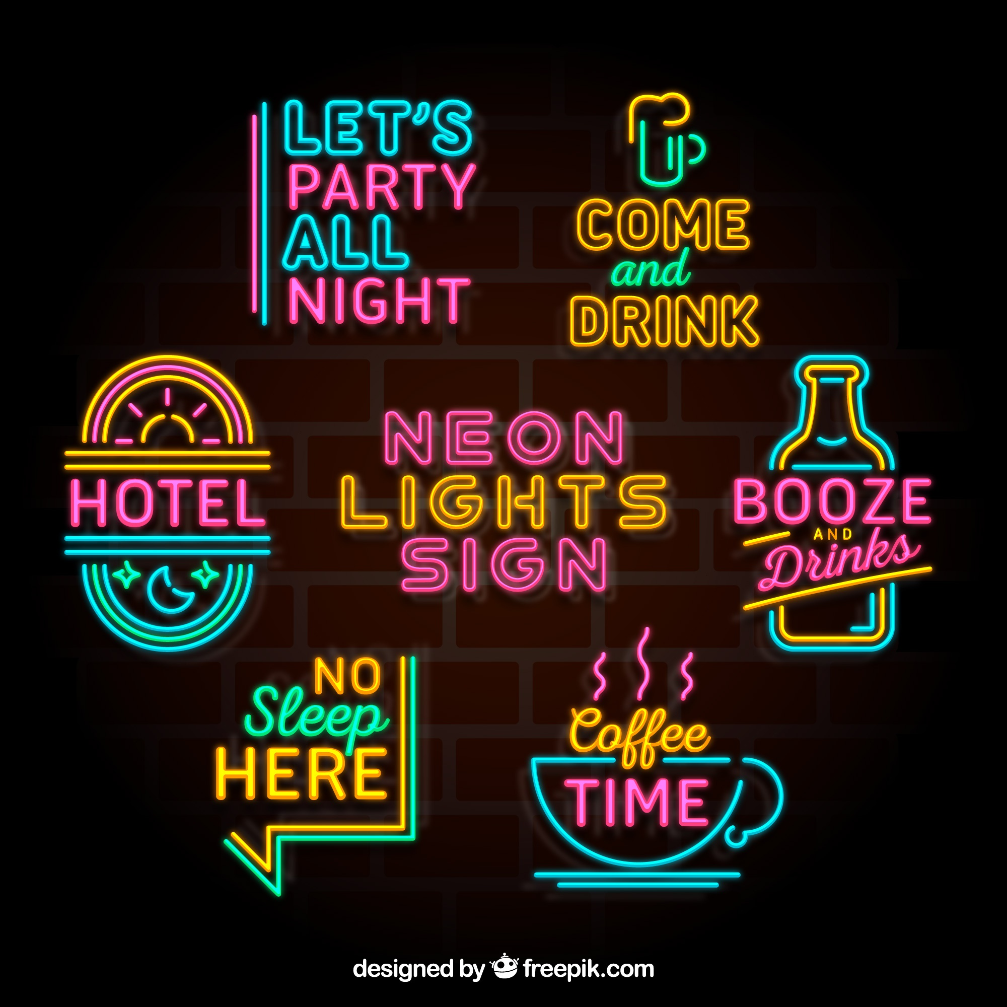 Awesome collection of colorful neon light placards