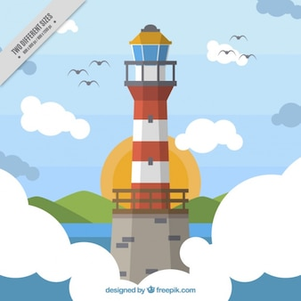 Awesome nautical background with lighthouse and birds