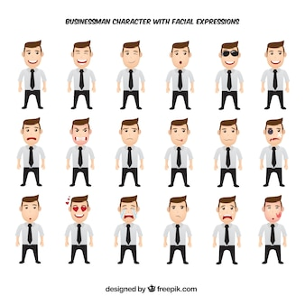 Awesome pack of businessman character with facial expressions