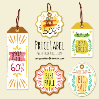 Awesome pack of watercolor price labels