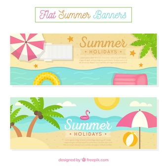 Awesome summer banners in flat design