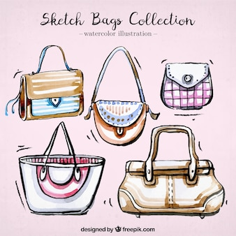 Awesome woman's bags in watercolor style