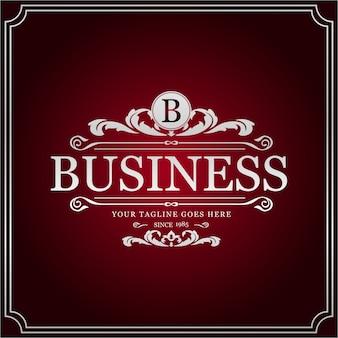 B Логотип для бизнеса. Новый креативный серебряный цветочный дизайн. Творческий стиль. Бизнес Цель. Красный фон.