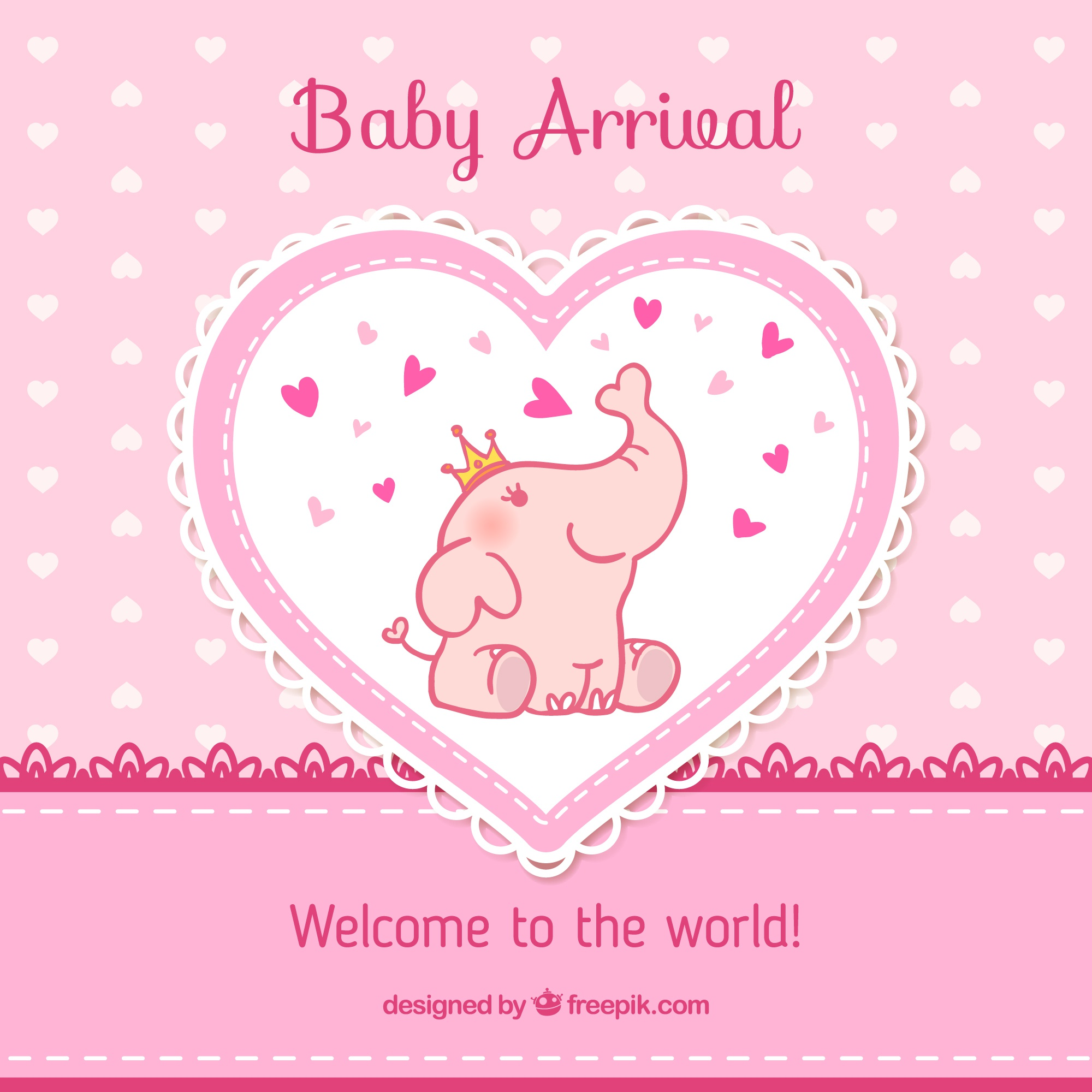 Baby arrival card in pink tones