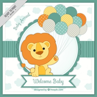 Baby arrival card with lion